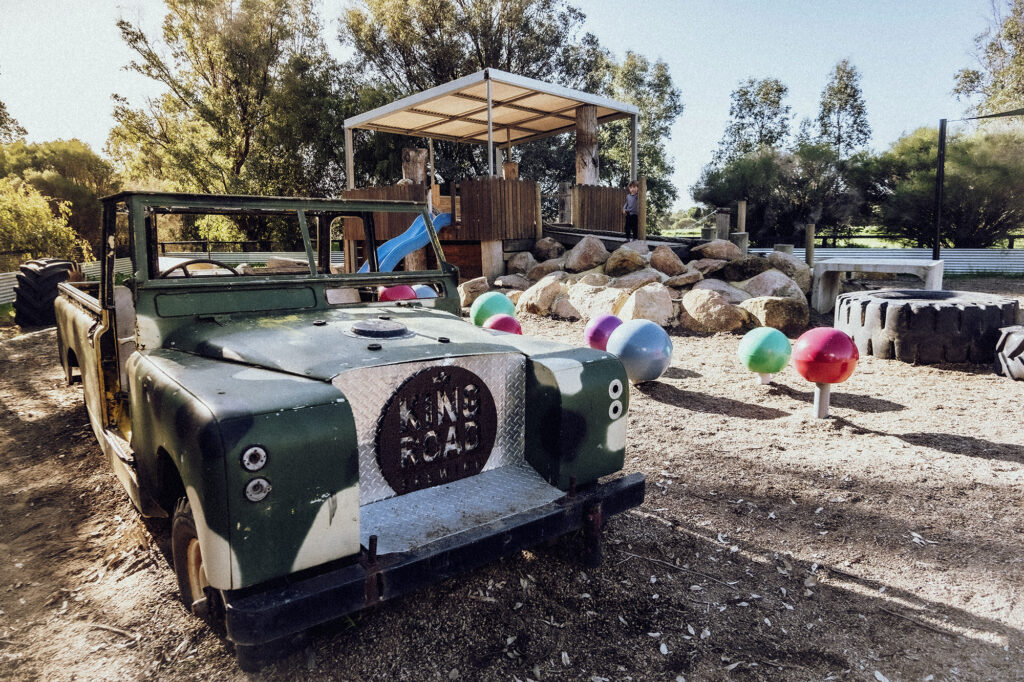Green car at the King Road Brewing Co children's playground